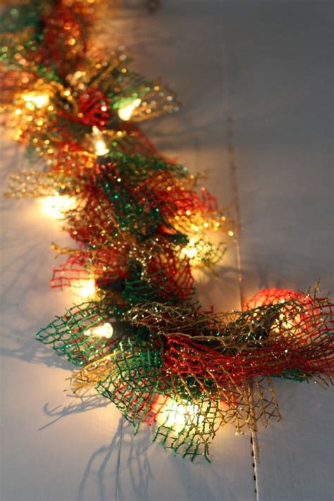 lighted dollar store christmas garland yesterday on tuesday