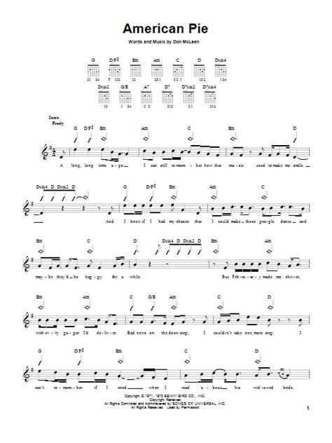 american pie sheet  don mclean easy guitar