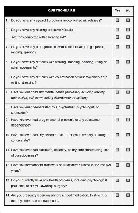 Health Questionnaire Form Template by 9 Sle Hr Questionnaire Templates Doc Pdf Free