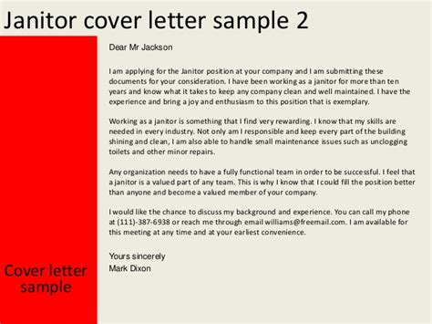 Cover Letter For Janitor Position by Janitor Cover Letter
