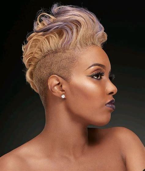 blonde mohawk hairstyle  black women short hairstyles