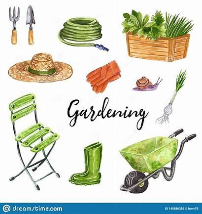 Gardening Tools Watercolor Clip Hand Drawn Illustration