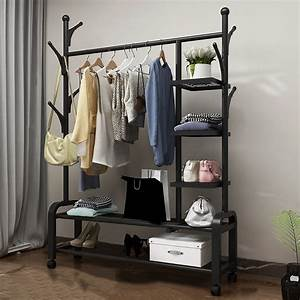 Clothing, Garment, Rack, With, Shelves, Metal, Cloth, Hanger, Rack, Stand, Clothes, Drying, Rack, For