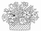 Coloring Basket Flowers Flower Pages Colouring Drawing Printable Amazing Colour Baskets Sheets Floral Books Mandalas Colori Popular Awesome Draw Getcolorings sketch template