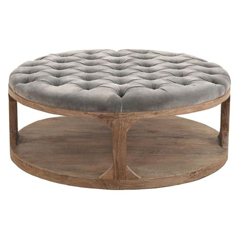 round wood coffee table marie french country round grey tufted wood coffee table