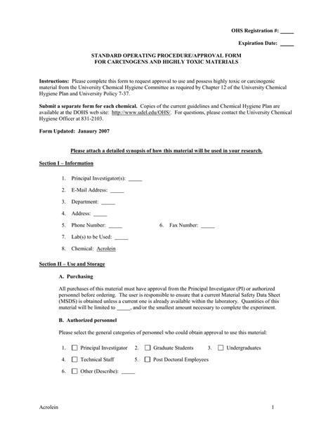 OHS Registration #: Expiration Date: STANDARD OPERATING