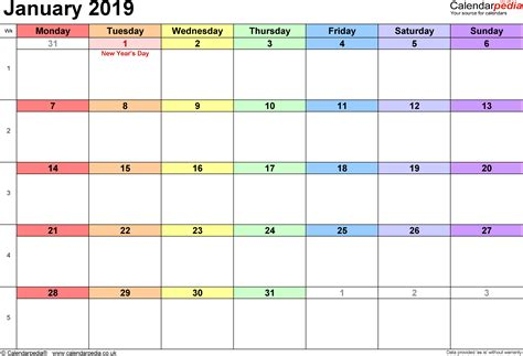 Calendar January 2019 Uk, Bank Holidays, Excel/pdf/word