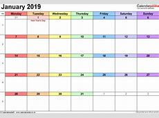 January 2019 Calendar With Holidays UK printable weekly