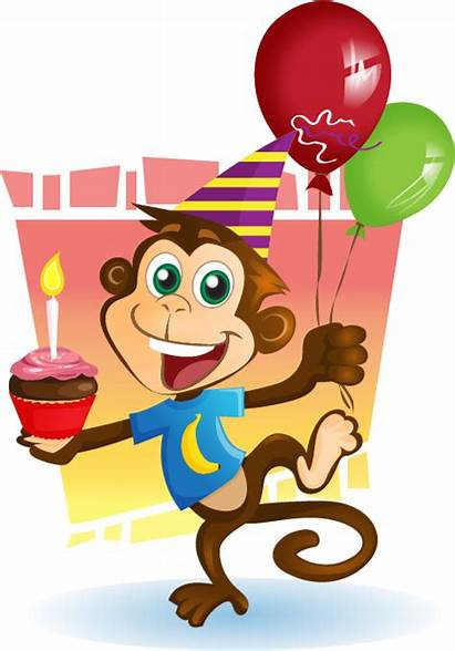 Monkey Birthday Clipart Party Clip Cliparts Transparent
