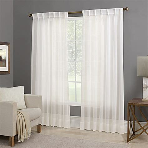 Willow Sheer Back Tab Window Curtain Panel in White   Bed