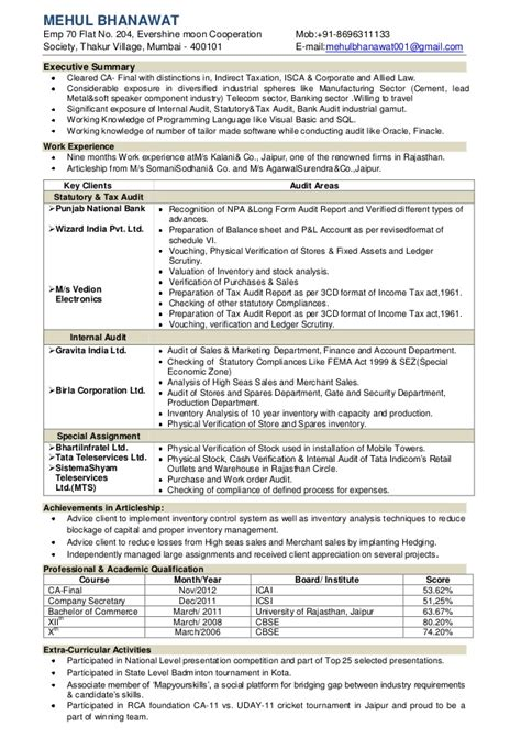 Ca Articleship Resume In Word by Ca Mehul Bhanawat Resume