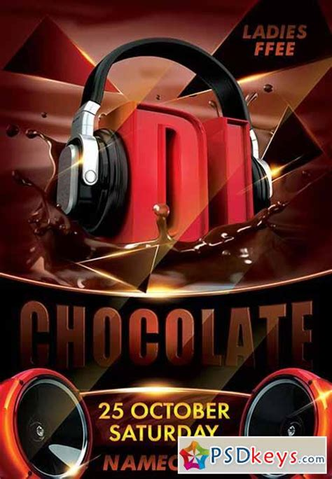 dj chocolate psd flyer template facebook cover
