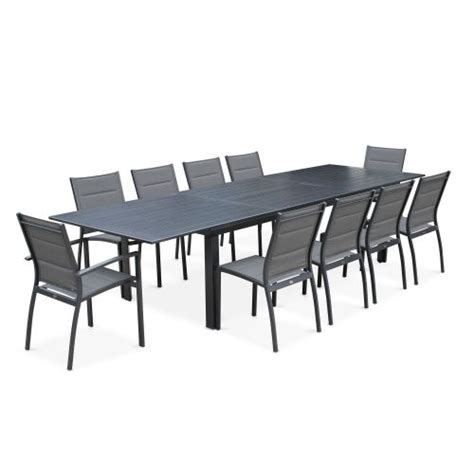 table de jardin avec rallonge salon de jardin table extensible odenton anthracite grande table en aluminium 235 335cm et