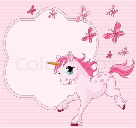 place card  running beautiful baby unicorn stock