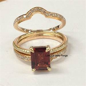 699 emerald cut red garnet engagement ring trio sets pave With garnet wedding ring set