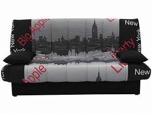 Tissu New York : banquette clic clac en tissu mama motif new york vente de banquette clic clac conforama ~ Dode.kayakingforconservation.com Idées de Décoration