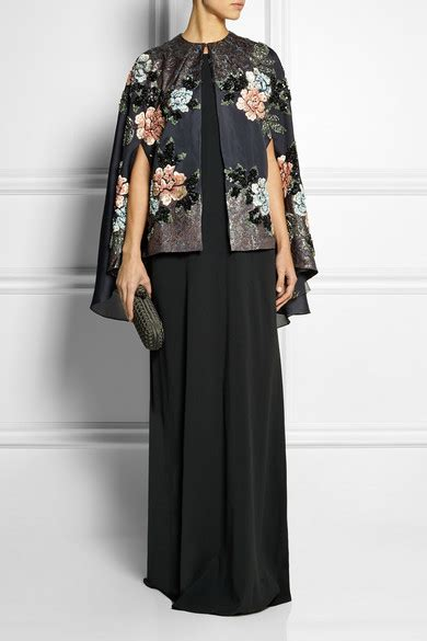 biyan cana embellished embroidered silk blend organza
