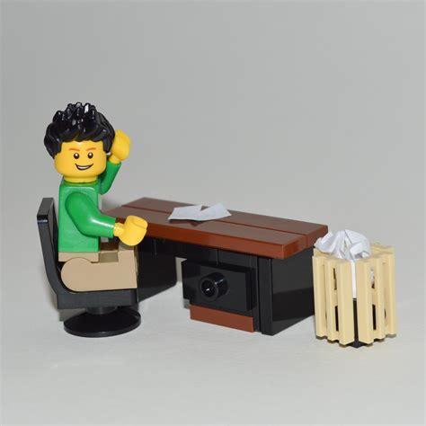 Lego Furniture Office Desk Set  W Desk & Chair + Waste