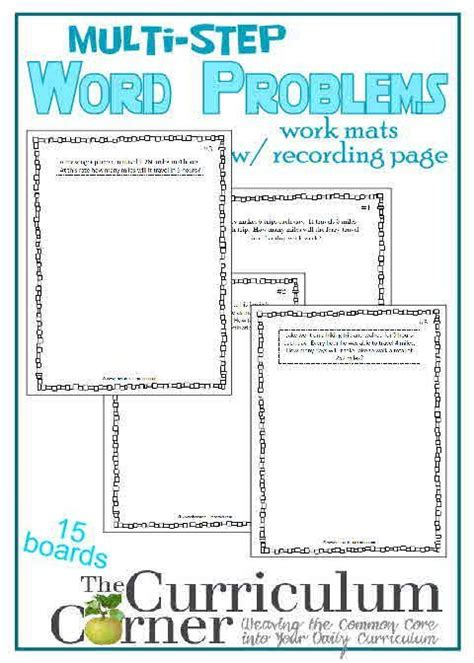 Multistep Word Problem Work Mats  5th Grade Math, Problem Solving And Words