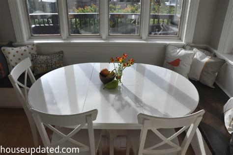 oval kitchen table with bench banquette paint pillows area all done house