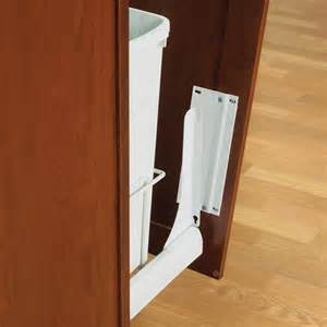 slide out door brackets white in cabinet trash cans