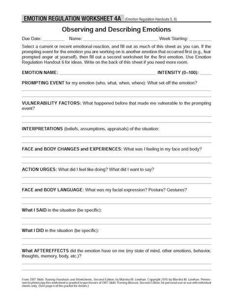 Dbt Selfhelp Resources Observing And Describing Emotions These Worksheets Accompany The