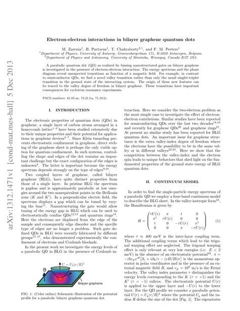 electron graphene interactions bilayer quantum dots