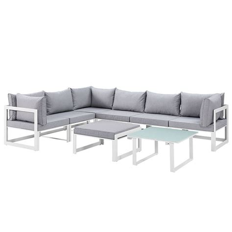 fortuna 8 outdoor patio sectional sofa set in white