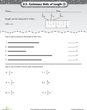 units of measurement inches worksheet education