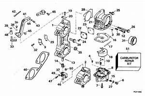 Evinrude 1996 225 - Be225txede  Carburetor  U0026 Linkage 200sl  225