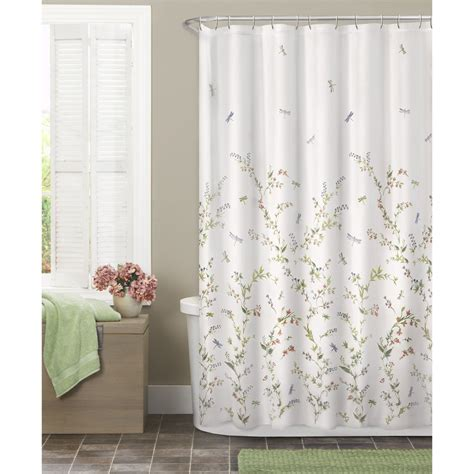 sheer fabric shower curtain maytex dragonfly garden semi sheer fabric shower curtain multicolor new ebay