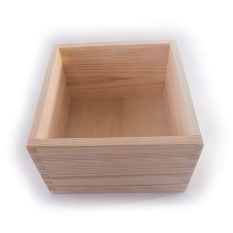 Lidded Box Template by Square Wooden Non Lidded Open Top Box 16x16x10cm Pine