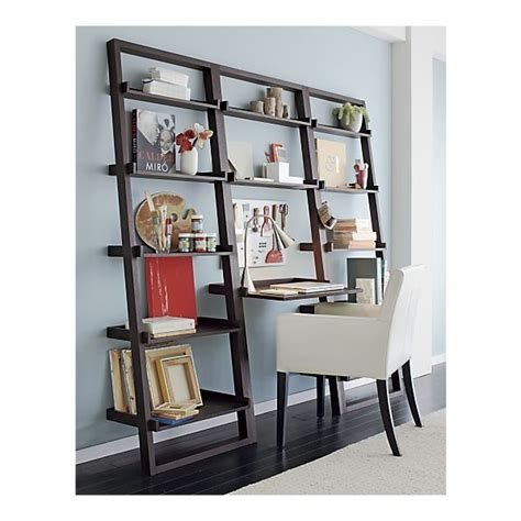 crate and barrel leaning bookshelf desk sloane grey leaning desk with 2 bookcases