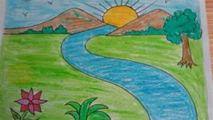 Nature Drawing Color Easy For Kids How To Draw A Landscape ...