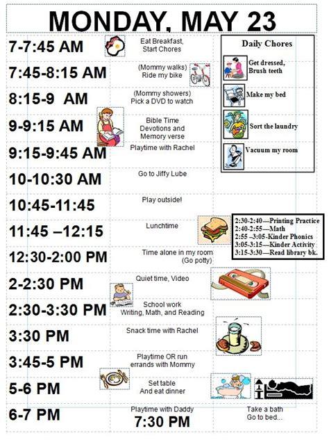 sample schedule   year  detailed organized