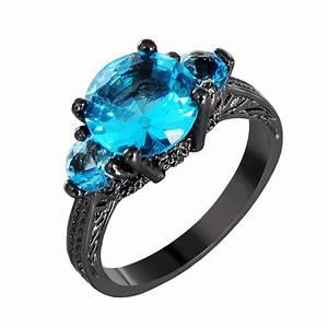 blue round aquamarine gem engagement ring 10kt black gold With gem wedding rings