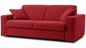 canape convertible microfibre rouge 3 places lit 140 cm With canapé tissu rouge 2 places