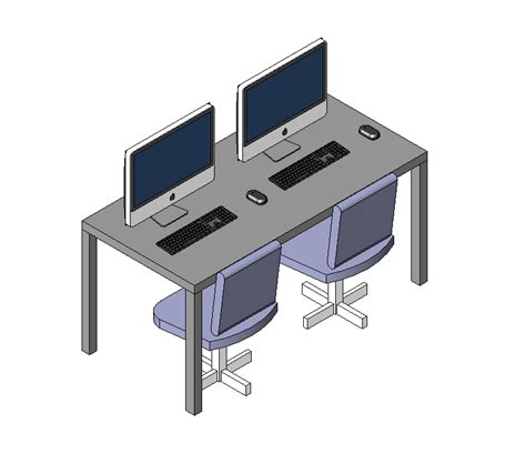 bureau dwg computer desk revit model and 3d model cadblocksfree