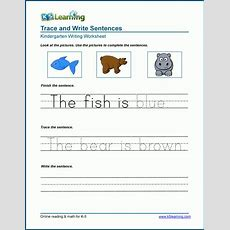 Read, Trace And Write Sentences Worksheets  K5 Learning