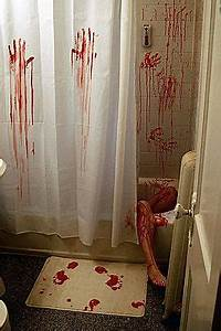 39thinkgeek horror movie shower curtain bath mat39 for Horror movie bathroom scene