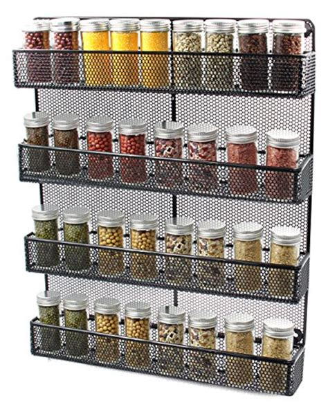 Large Spice Organizer by Esylife 4 Tier Wall Mounted Wire Spice Rack Organizer