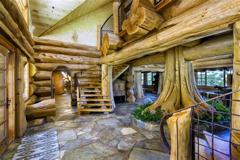 home log cabin mansion estate  highway