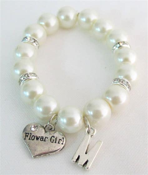 flower girl personalized bracelet initial  bracelet