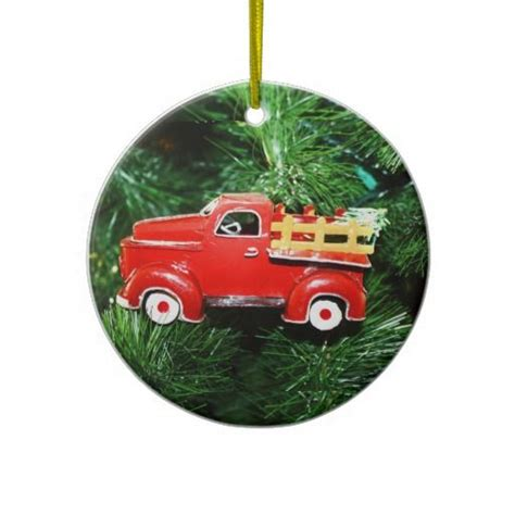 little red christmas pick up truck ornament 3