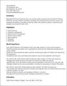 day care resume skills professional child care supervisor templates to showcase