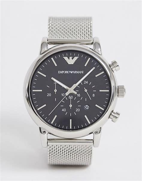 emporio armani emporio armani ar1808 montre chronographe avec bracelet en maille et acier