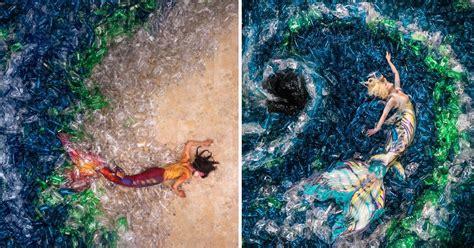 activist photographer depicts mermaids swimming   sea