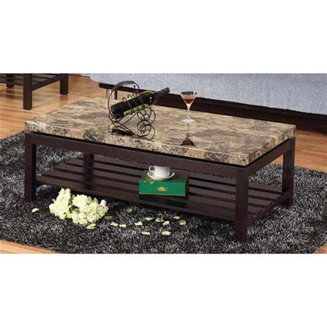 Monroe 3 pcs coffee table set for. Benzara BM179749 Wooden Coffee Table with Faux Marble Top, Red Cocoa Brown - 17 x 23.25 x 47.25 ...