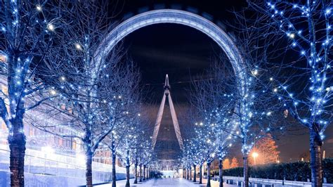 hd hintergrundbilder london eye nacht winter garland
