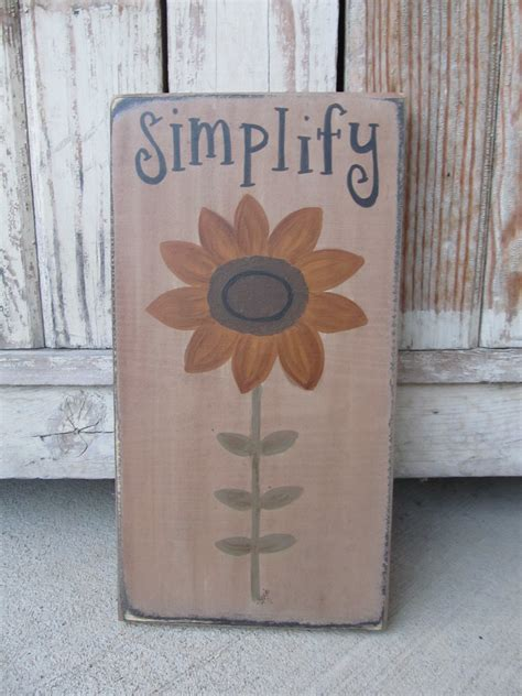primitive sunflower  stem summer fall hand painted
